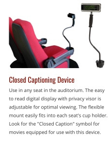Closed Captioning device for movie theaters