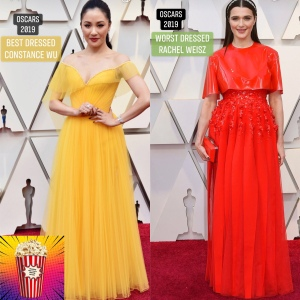 Actresses Constance Wu and Rachel Weisz in their Oscar dresses in 2019.
