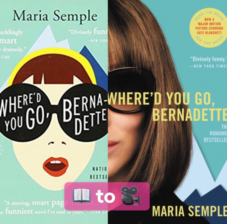 An image that shows a split screen of the cover of the book and the movie poster.