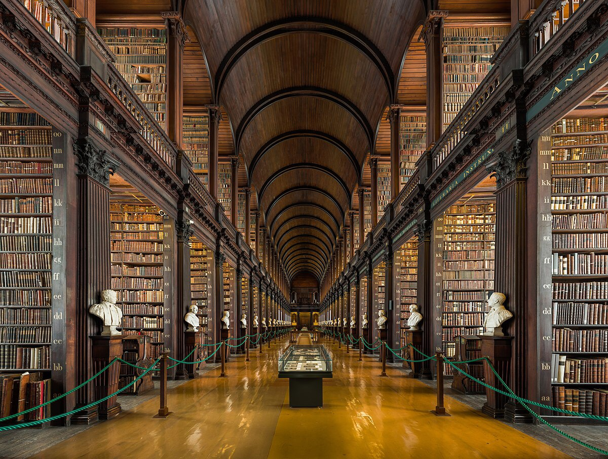 A picture of the long room of Trinity College library in Dublin, Ireland. The room displays over 200,000 books.